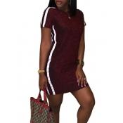 Leisure Round Neck Patchwork Vinho vermelho poliéster bainha mini vestido