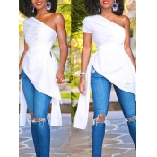 Trendy Dew Shoulder Asymmetrical White Polyester T