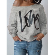 Lovely Leisure Round Neck Long Sleeves Letters Printing Grey Cotton Pullover