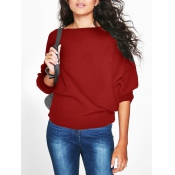 Euramerican Round Neck Long Sleeves Red Cotton Swe