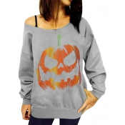 Leisure Round Neck Pumpkin Printing Grey Cotton Pu