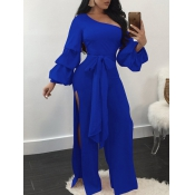 Trendy Dew Shoulder Side Split Blue Polyester One-piece Jumpsuits