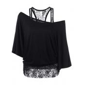 Trendy Dew Shoulder Lace Combination Black Cotton