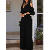Euramerican Hollow-out Black Polyester One-piece Jumpsuits