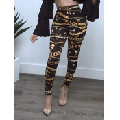Stylish High Waist Printed Black Polyester Legging