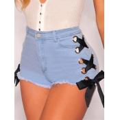 Stylish Zipper Design Blue Denim Shorts