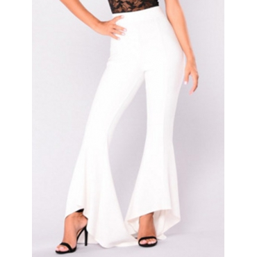 Leisure High Waist Falbala Design White Polyester Pants