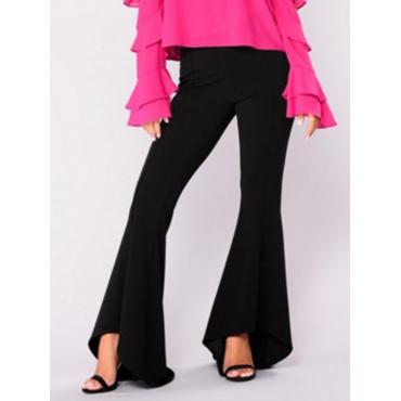 Leisure High Waist Falbala Design Black Polyester Pants