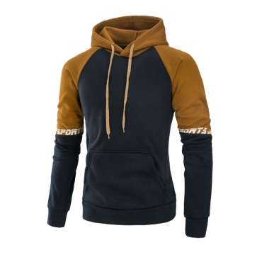 Leisure Long Sleeves Patchwork Camel Cotton Blends Hoodies