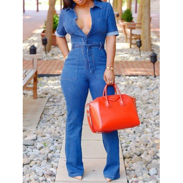 Stylish V Neck Lace-up Blue Denim One-piece Jumpsuits