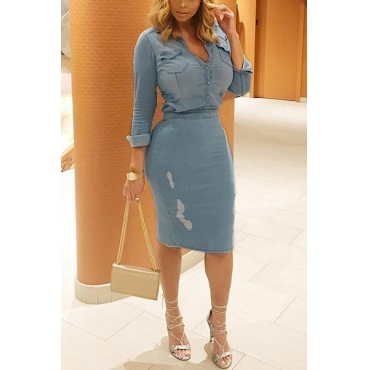 Lovelyslit denim two pieces