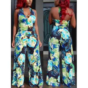 Sexy Printed Backless Linen  One-piece Jumpsuits