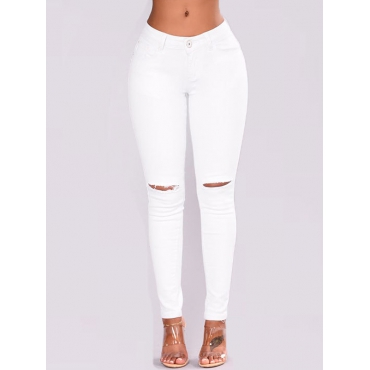 Stylish Mid Waist Broken Holes White Denim Pants