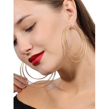 Fashion Hollow-out Gold Metal Earring
