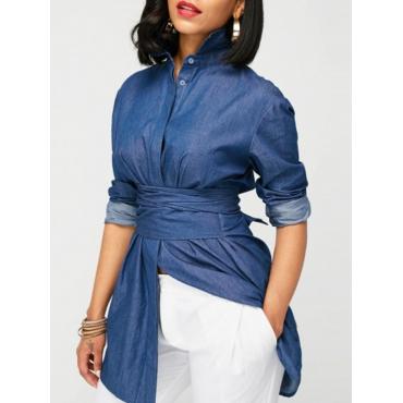 Trendy Mandarin Collar Long Sleeves Bandage Blue Denim Shirts