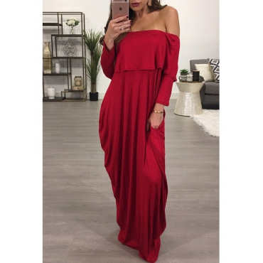 Fashion Dew Shoulder Falbala Design Wine Red Cotton Blend Ankle Length Dress