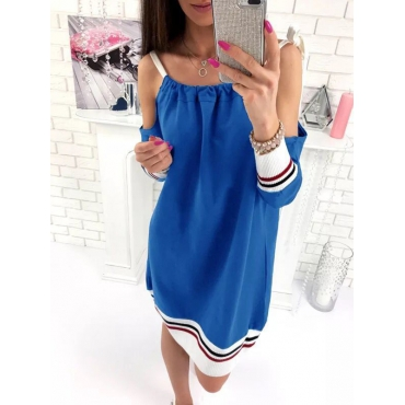 Leisure Round Neck Patchwork Blue Cotton One-piece Loose Jumpsuits