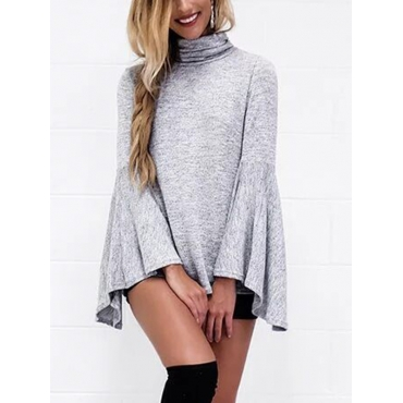 Leisure Turtleneck Long Sleeves Asymmetrical Grey Cotton Shirts