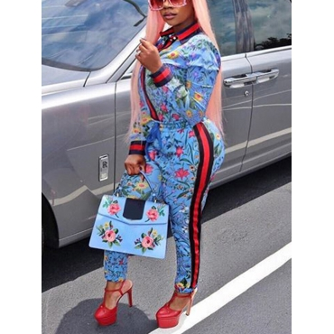 Trendy Round Neck Long Sleeves Floral Print Blue Polyester Two-piece Pants Set