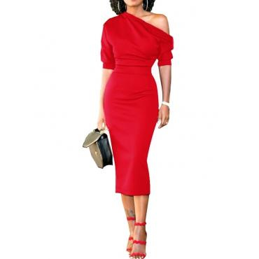 Trendy Dew Shoulder Half Sleeves Red Polyester Sheath Mid Calf Dress
