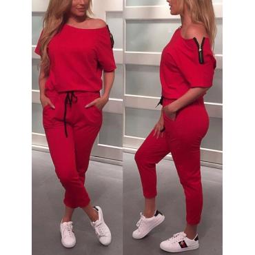 Leisure Dew Shoulder Red Cotton Blends One-piece Jumpsuits