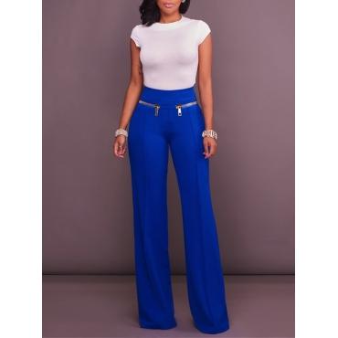Fashion High Waist Blue Cotton Blends Pants