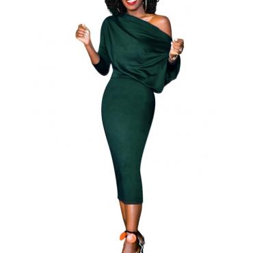 Trendy Dew Shoulder Polyester Army Green Polyester Sheath Mid Calf Dress