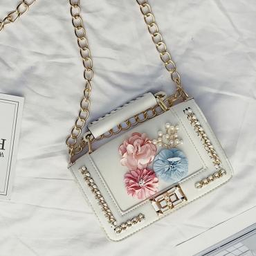 Stylish Flower Decorative White PU Crossbody Bag