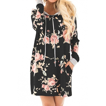Always Be Floral Hooded Casual Mini Dress