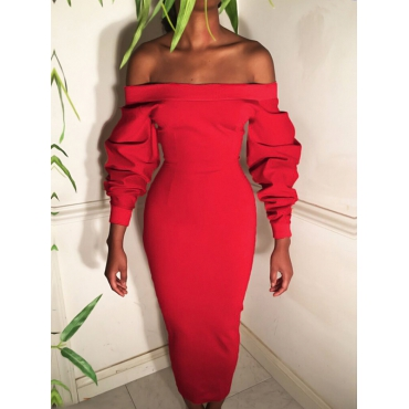Trendy Dew Shoulder Long Sleeves Red Polyester Sheath Mid Calf Dress