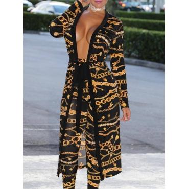 Elegante Con Cuello En V Estampado Negro Poliéster Pantalones De Dos Piezas