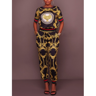 Trendy Round Neck Printed Black Polyester Two-piece Pants Set