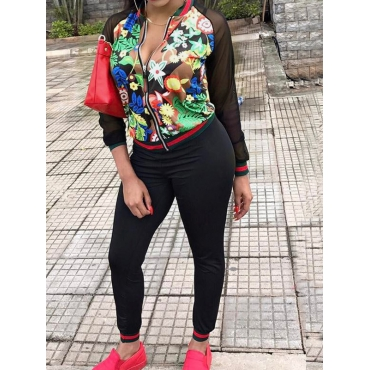 Black Spandex Pants Print Mandarin Collar Long Sleeve Fashion Two Pieces