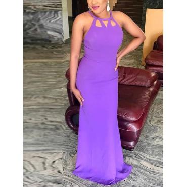 Сексуальная шею выдалбливают фиолетовый полиэстер Длина пола платье