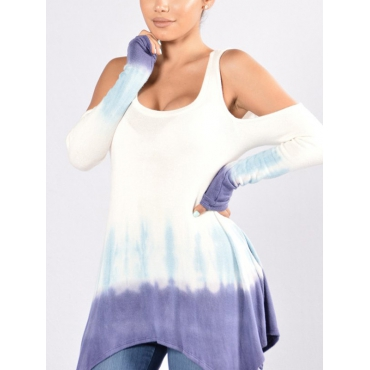 Leisure Round Neck Hollow-out Polyester Shirts
