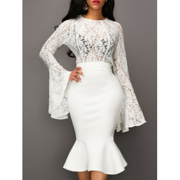 Stylish Round Neck See-Through White Lace Two-piece Skirt Set