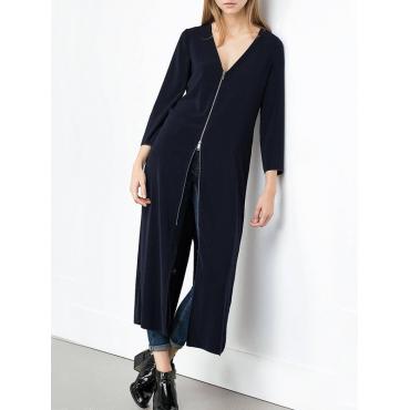 Moda V cuello manga larga cremallera diseño negro pandex largo abrigo