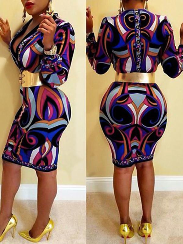 Euramerican V Neck Long Sleeves Printed Purple Polyester Knee Length Dress(Without Belt)