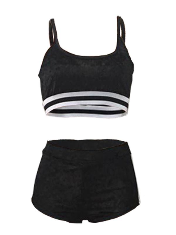 Sexy U-shaped Neck Patchwork Black Velvet Two-piece Shorts Set
