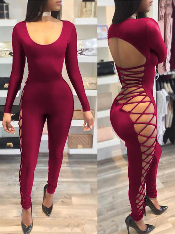 Sexy Round Neck Hollow-out Wine Red Milk Fiber One-piece Skinny Jumpsuits