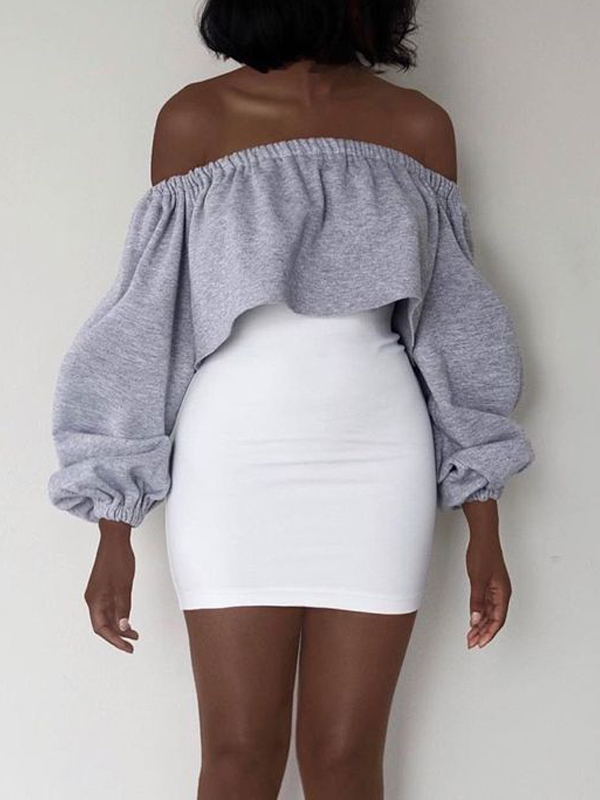 Leisure Dew Shoulder Grey Polyester Sheath Mini Dress