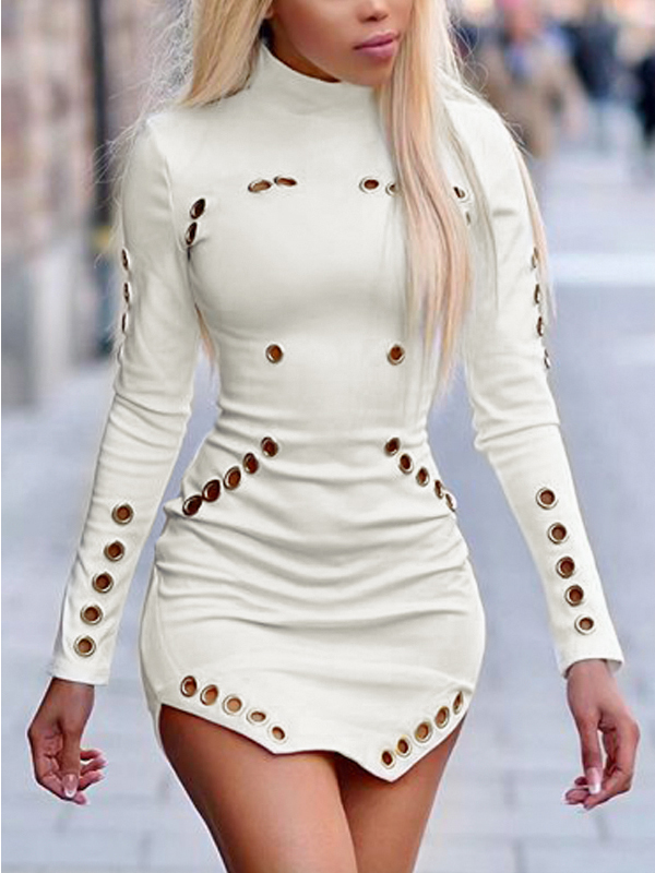 Trendy Round Neck Long Sleeves Hollow-out White Healthy Fabric Sheath Mini Dress
