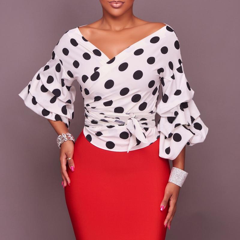 Trendy V Neck Long Sleeves Falbala Design White Cotton Tops