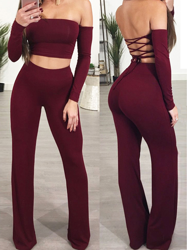 Sexy Dew Shoulder Lace-up Hollow-out Red Cotton Blends Two Piece Pants Set<br>