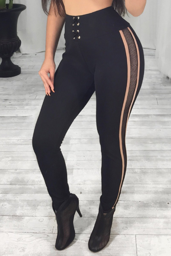 Sexy High Waist Patchwork Hollow-out Black Polyester Pants