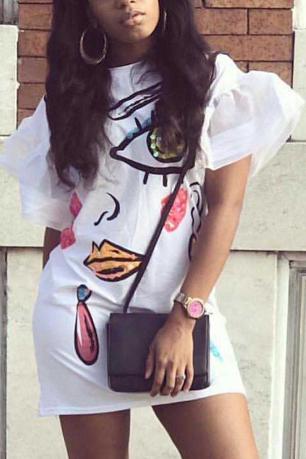 Euramerican cuello redondo mangas cortas impresas vestido de poliéster blanco mini vestido