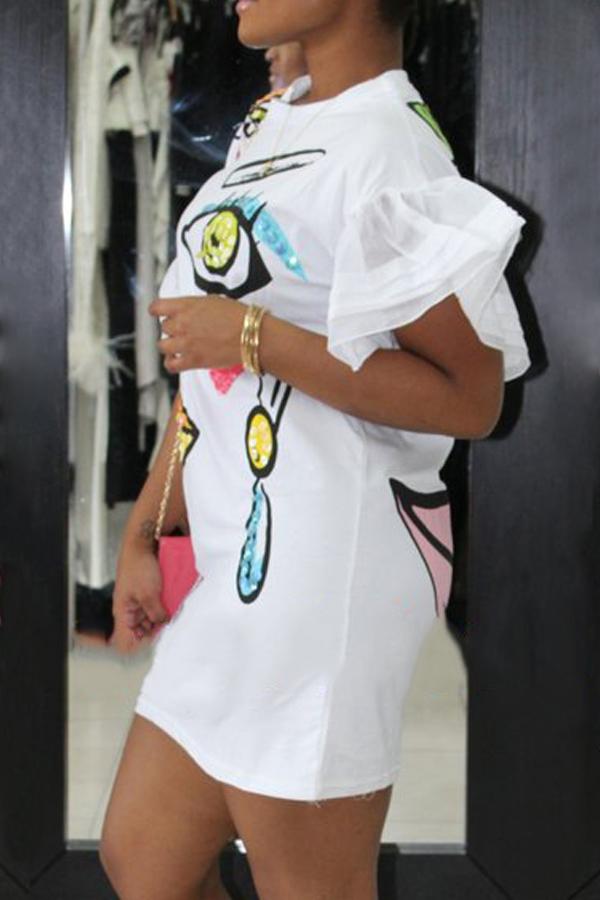 Euramerican Rundhals Kurzarm bedruckt weißes Polyester Mantel Mini Kleid
