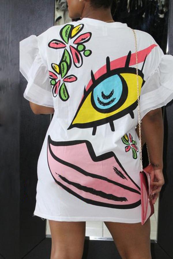 Стильный Шею С Коротким Рукавом Печатных Белый Полиэстер Оболочка Мини-Платье