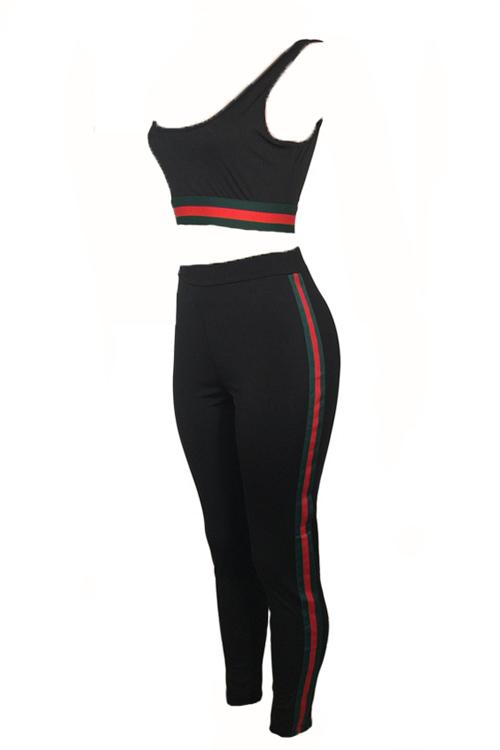 Leisure U-em forma de pescoço Patchwork Black Polyester Two-Conjunto de calças de peça