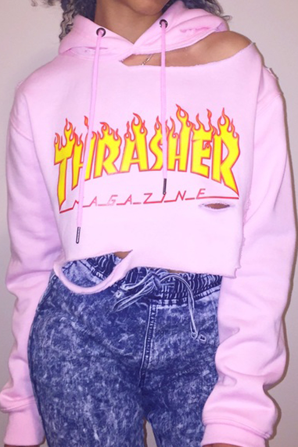 Leisure Mangas largas Impreso Hollow-out Pink Cotton Blends Sudaderas con capucha